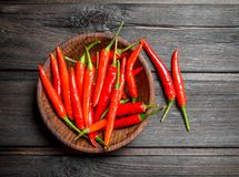 Red hot pepper in bowl. On wooden background stock photography