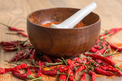 Red hot pepper chili powder in a mortar and pods Stock Images