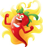 Red hot pepper on fire cartoon. Character Royalty Free Stock Photography
