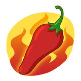 Red hot pepper illustration. Red hot chili pepper cartoon Stock Photography
