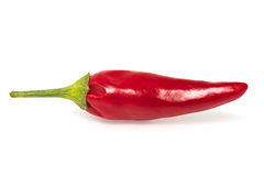 Red hot pepper. Single red hot pepper on  white background Royalty Free Stock Photo