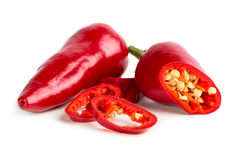 Red hot pepper with slices. Isolated on white background Royalty Free Stock Images