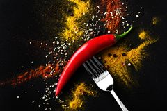 Red hot pepper. a mixture of spicy seasonings. View from above Royalty Free Stock Images