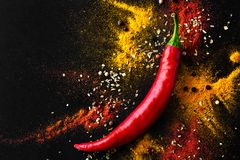 Red hot pepper. a mixture of spicy seasonings. View from above Stock Photo