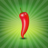 Red Hot Pepper With Water Drop And Green Sunburst Stock Image