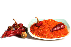 Red hot peppers. Red dry peppers on the table and ground papers on plate Stock Images