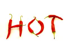 Red 'HOT' Peppers Stock Photo