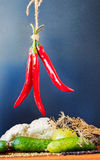 Red Hot Peppers Hanging Stock Photos
