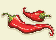 Red hot peppers isolated for design Royalty Free Stock Photo