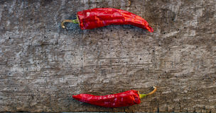 Red hot peppers on wooden Royalty Free Stock Image