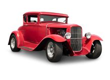 Red Hot Rod Car with clipping path Stock Photo