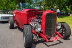 Red hot rod car. At Victorian Hot Rod & Cool Rides Show in Melbourne, Australia Royalty Free Stock Photography