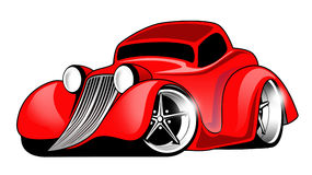 Red Hot Rod Cartoon Illustration. Hot Rod cartoon car Royalty Free Stock Image