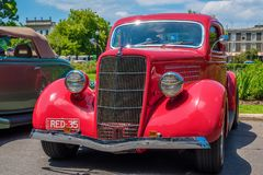 Red hot rod Ford car. At Victorian Hot Rod & Cool Rides Show in Melbourne, Australia Stock Image