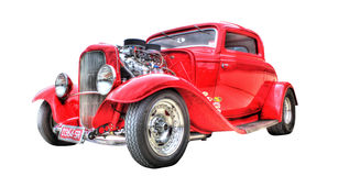Free Red Hot Rod Isolated On White Background Stock Images - 64722594