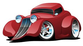 Red Hot Rod Restomod Coupe Car Cartoon Vector Illustration. Sharp custom red hot American style classic restomod coupe hot rod with shiny paint, lots of chrome stock illustration