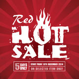 Red Hot Sale. Promotion  poster design Stock Photos