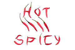 Red hot and spicy chili peppers alphabet. On white Stock Photo