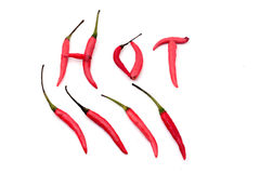 Red hot and spicy chili peppers alphabet Stock Image