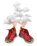 Red hot sport running shoes. Smoking red hot running sport shoes isolated on white background stock illustration
