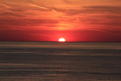 Red Hot Summer. Red sunset on Lake Michigan from Holland, MI Royalty Free Stock Images