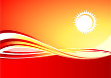 Red hot sun background Stock Photos