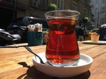 Red hot. Traditional Turkish tea at Nisantasi street Stock Photo