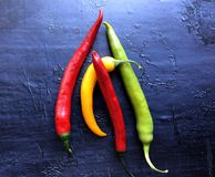 Red hot tri color chili peppers. stock image
