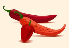 Red hot vector chili Stock Images