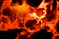Red hot volcano ember 2 Stock Photos