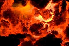 Red hot volcano ember 2. Red hot volcano ember. Melting lava Stock Photos