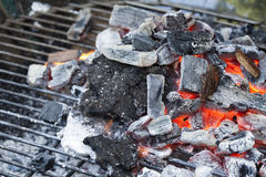 Red Hot Wood Charcoal on Barbecue grill Royalty Free Stock Image