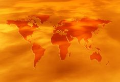 Red-hot world. Red-hot map of the world Royalty Free Stock Image