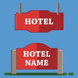 Red hotel label flat style. Red hotel label icons set. Flat set of 2 red hotel label vector icons for web isolated on blue background vector illustration