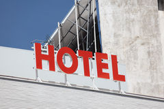 Red hotel sign Stock Photo