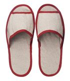 Red hotel slippers isolated on white background. Close up, high resolution Royalty Free Stock Photos