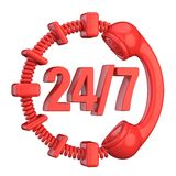 Red 24 hours a day and 7 days a week sign. 3D Stock Images