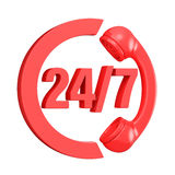 Red 24 hours 7 days a week sign. 3D. Render illustration  on white background Royalty Free Stock Images