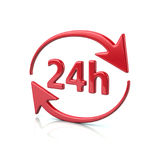 Red 24 hours icon. 3d illustration of red 24 hours icon on white background Royalty Free Stock Photo