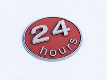Red 24 Hours Icon. A 3D rendered illustration of a red 24 hour icon circular in shape with light grey lettering Royalty Free Stock Photo