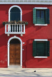 Red house. In the streat of the isleand Burano Royalty Free Stock Photo