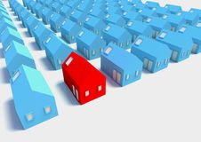 The Red House amongst The Blue Stock Photography