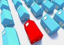 The Red House amongst The Blue. A picture for real-estate business Royalty Free Stock Photos