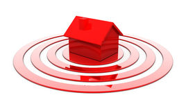 Red house in the center of the target Stock Photo