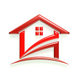 Red House logo check in Royalty Free Stock Photo