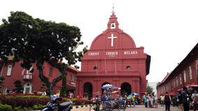 Red house Christ Church in Malacca. Christ Church Melaka and full of tourists. This is the landmark of Malacca, Malaysia Stock Photo