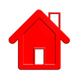 Red house. clipping path. Stock Photo