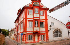 Red house on the cobbled streets Royalty Free Stock Images
