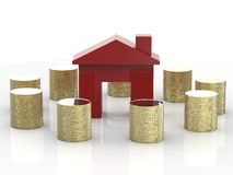Red house with coins. Red house surrounded by stack of coins Stock Image
