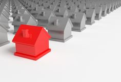 Red house in the foreground Royalty Free Stock Photography